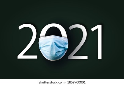 Year 2021 with Surgical Face Mask. happy new year 2021