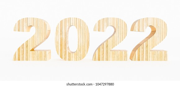 Year 2022 made with wood on a white background. 3d Rendering.