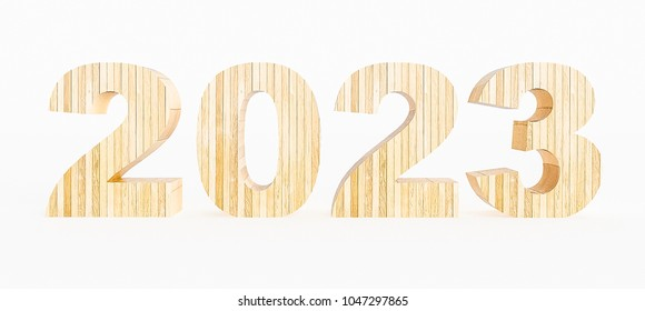 Year 2023 made with wood on a white background. 3d Rendering.