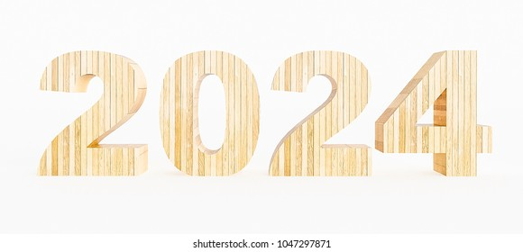 Year 2024 made with wood on a white background. 3d Rendering.