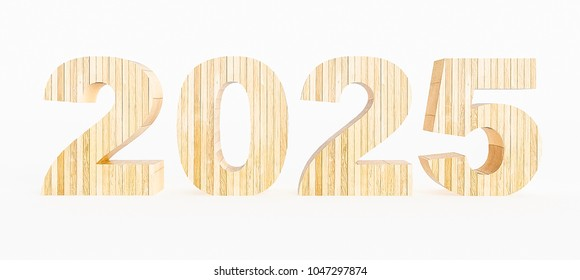 Year 2025 made with wood on a white background. 3d Rendering.
