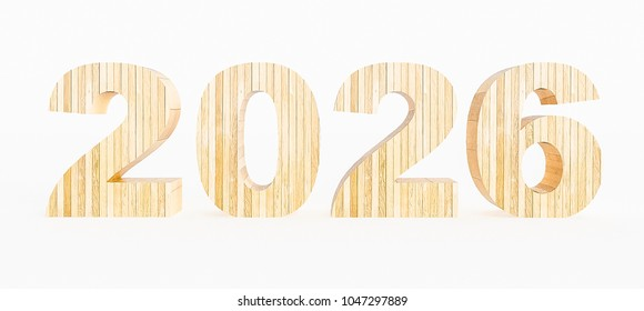 Year 2026 made with wood on a white background. 3d Rendering.