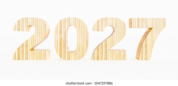 Year 2027 made with wood on a white background. 3d Rendering.