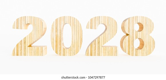 Year 2028 made with wood on a white background. 3d Rendering.