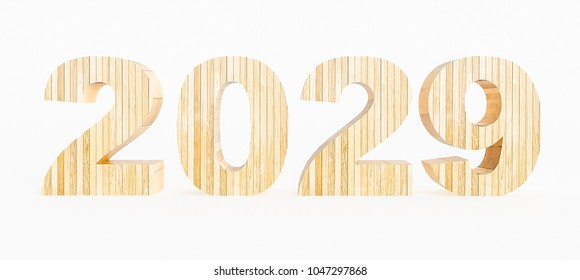 Year 2029 made with wood on a white background. 3d Rendering.