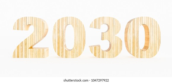 Year 2030 made with wood on a white background. 3d Rendering.