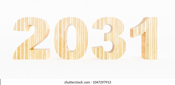 Year 2031 made with wood on a white background. 3d Rendering.