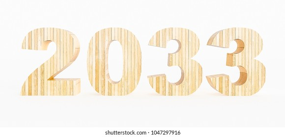 Year 2033 made with wood on a white background. 3d Rendering.