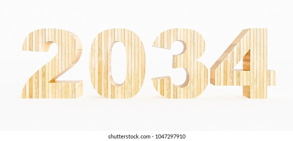 Year 2034 made with wood on a white background. 3d Rendering.