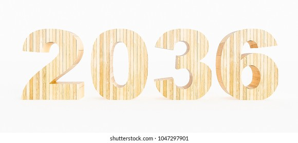 Year 2036 made with wood on a white background. 3d Rendering.