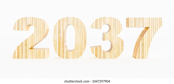 Year 2037 made with wood on a white background. 3d Rendering.