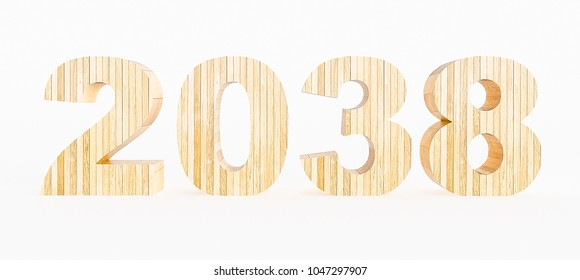 Year 2038 made with wood on a white background. 3d Rendering.