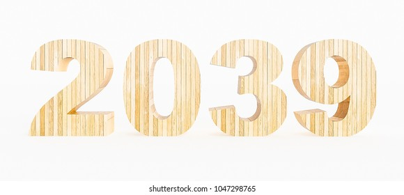 Year 2039 made with wood on a white background. 3d Rendering.