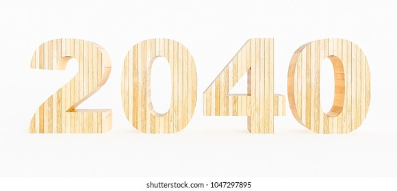 Year 2040 made with wood on a white background. 3d Rendering.