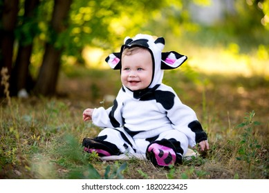 Year of the bull. A child in a fancy dress of a bull on a meadow smiles cute. Kid in Halloween Cow Costume