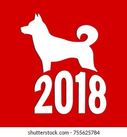 Year of The Dog, Chinese zodiac symbol of 2018 dog year. Isolated on red background.
