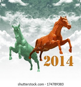 Year of the horse concept, Colorful horse running on cloud