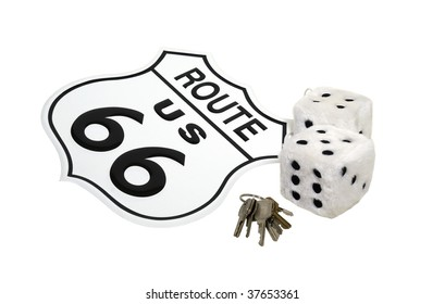 Yearning for the open road shown by Route 66 sign, fuzzy dice, and keys - path included