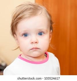 Year-old little Caucasian child closeup portrait