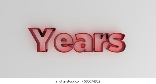 Years - Red glass text on white background - 3D rendered royalty free stock image.