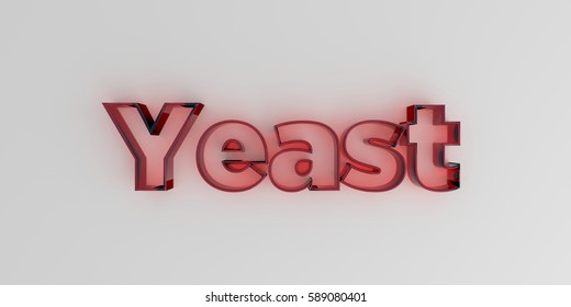 Yeast - Red glass text on white background - 3D rendered royalty free stock image.