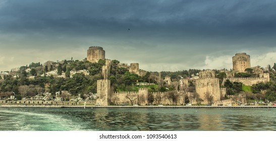 The Yedikule Fortress in Istanbul, Turkey. Yedikule fortress or Castle of Seven Towers is the one of the main travel attractions in Istanbul. Beautiful panoramic view of Istanbul.