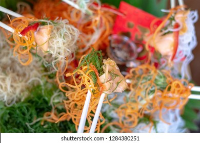 yee sang or yuu sahng or Prosperity Toss, also known as lo hei is a Cantonese-style raw fish salad.
