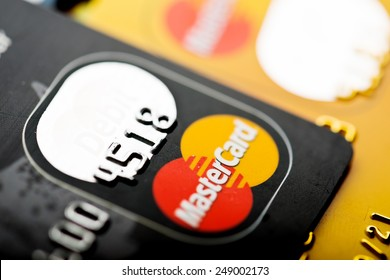 YEKATAERINBURG, RUSSIA - JAN 07, 2015: Pile of MasterCard credit cards. Mastercard one of the two biggest credit card companies in the world.