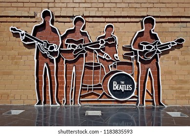 Yekaterinburg, Russia - 15 Sept, 2018: Monument to The Beatles. Monument was installed on May 23, 2009, and this is the first monument to The Beatles in Russia.