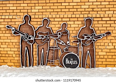 Yekaterinburg, Russia -  17 March, 2018: Monument to The Beatles. Monument was installed on May 23, 2009, and this is the first monument to The Beatles in Russia.