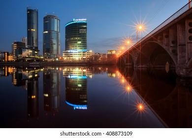 YEKATERINBURG, RUSSIA - April, 2016: Night Yekaterinburg city, Ekaterinburg, Russia