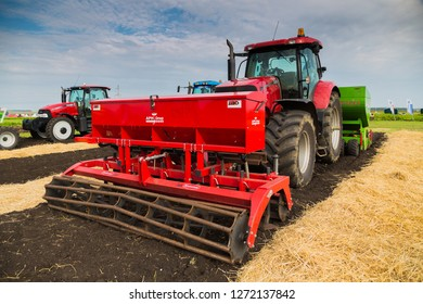 Yekaterinburg, RUSSIA - August 23, 2018: Agricultural machinery in a potato field