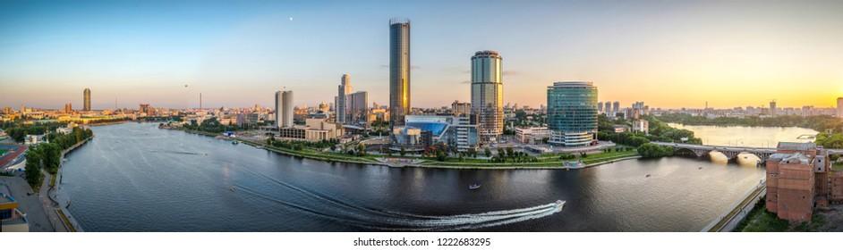 Yekaterinburg, Russia, bird eye panoramic view at the center of the city