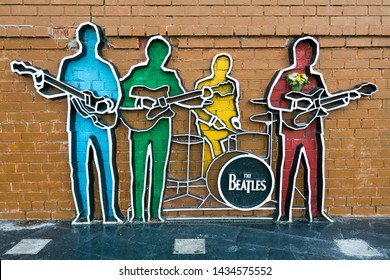 Yekaterinburg, Russia - June 20, 2019: Monument to the British rock band The Beatles in the city of Yekaterinburg in Russia