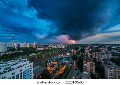 Yekaterinburg Russia - June, 2014: Thunderstorm in Yekaterinburg city downtown at summer evening