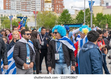 Yekaterinburg, Russia June 8, 2018. The stadium for the 2018 world championship football (soccer). Fans arrived