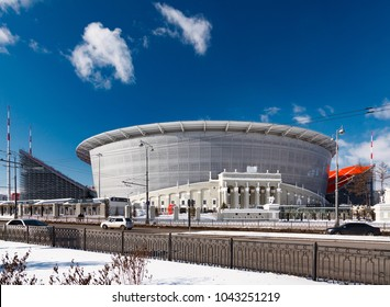 Yekaterinburg, Russia March 09, 2018. The construction of the new stadium for the 2018 world championship football (soccer).