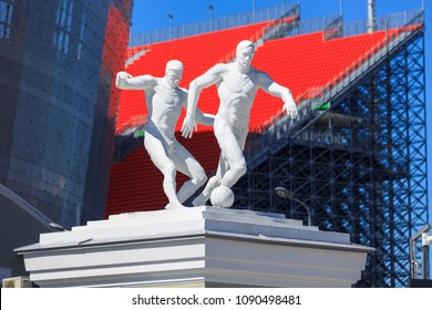 Yekaterinburg, Russia May 13, 2018. The monument near the new stadium for the 2018 world championship football (soccer).