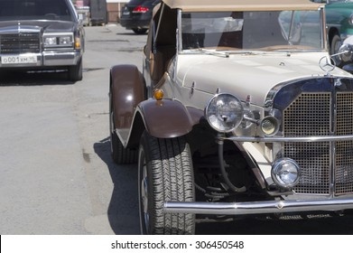 YEKATERINBURG, RUSSIA - MAY 23, 2015: Mercedes SSK 1937 release presented at the exhibition of retro-cars passing every year in Yekaterinburg in Russia