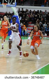 YEKATERINBURG, RUSSIA - OCT 11. Celine Dumerc, UMMC and France team, Eurobasket winner during game between UMMC (Yekaterinburg, Russia) and USA Team on UMMC Cup. USA won 78:63 on Oct 11, 2009.