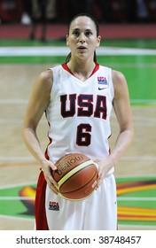 YEKATERINBURG, RUSSIA - OCT 11. Sue Bird, USA, champion of WNBA, Olympis Gold winner during basketball game between UMMC (Yekaterinburg, Russia) and USA Team on UMMC Cup. USA won 78:63, Oct 11, 2009.