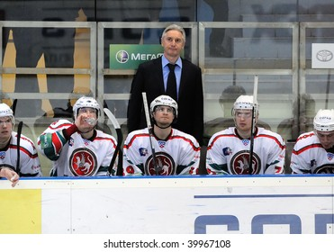 YEKATERINBURG, RUSSIA - OCT 14: Bench of Ak Bars, Kazan during the KHL hockey game against Automobilist held in Yekaterinburg, Russia on Oct 14, 2009. AK Bars beat Automobilist, 3:1