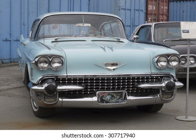 YEKATERINBURG, RUSSIA - SEPTEMBER 07, 2015: Cadillac Deville presented at the exhibition of retro-cars passing every year in Yekaterinburg in Russia