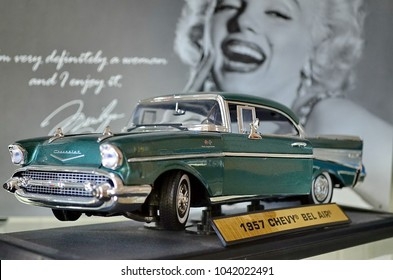 "Yekaterinburg, Russia-August 27,2017: Exhibition of retro cars. Car ""Chevrolet Bel Air Hardtop Sedan"", year of manufacture 1957, power 270 HP, USA"