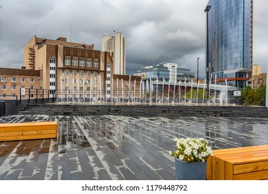 Yekaterinburg, Sverdlovsk / Russia - 09 09 2018: The central part of the city with modern buildings and fountains near the Boris Yeltsin Museum