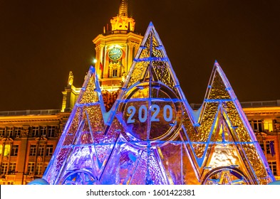 Yekaterinburg.Russia. December 28, 2019. Christmas tree and ice town on the square of 1905.Sculptures made of ice.