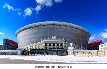 Yekaterinburg/Russia March 09, 2018. The construction of the new stadium for the 2018 world championship football (soccer).