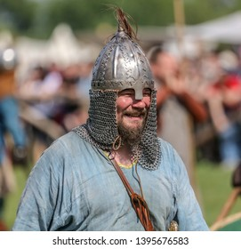 Yelets, Russia - May 11, 2019: Historical holiday Rusborg. Armored knight .