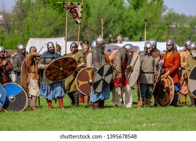 Yelets, Russia - May 11, 2019: Historical holiday Rusborg. Knights battle.