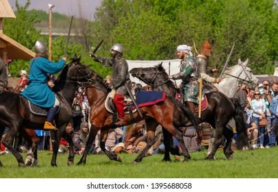 Yelets, Russia - May 11, 2019: Knights on horseback. Historical holiday Rusborg.